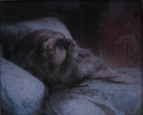 victor hugo sur son lit de mort d sir fran ois laug e peinture toile pastel. Black Bedroom Furniture Sets. Home Design Ideas